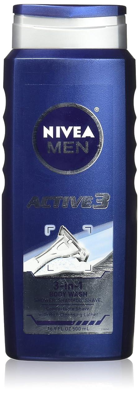 あたたかい群集啓発するNIVEA MENS BODY WASH ACTIVE 3 16.9 OZ by Nivea Men
