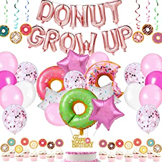 Danirora Donut Grow Up Party Decoration Set, Donut Birthday Party Supplies Kit with Donut Grow Up Banner Latex Foil Balloo...
