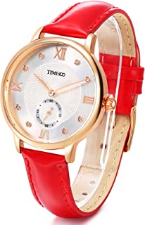 Time100 Womens Leather Band Watch Waterproof Analog Quartz Fashion Watch for Women/Ladies (Red Leather)