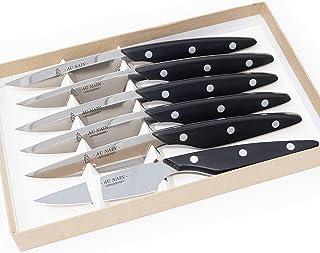 Coffret 6 couteaux steaks brasserie Noir Set de 6 couteaux de table multi-usage haute qualité en inox Couteau à viande, à ...