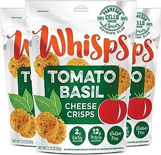 Whisps Tomato Basil Cheese Crisps | Keto Snack, No Gluten, Zero Sugar, Low Carb, High Protein | 2.12oz (3 Pack)