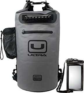 Ultra Waterproof Dry Bag with Easy Access Front Zippered Pocket, Side Pocket, Padded Shoulder Straps, and Grab Handle for ...