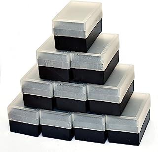 Lot de 10 boîtes de rangement porte-diapositives noires avec bouchon semi-transparent