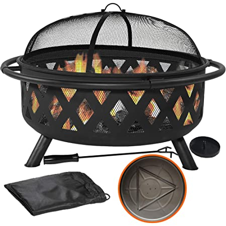 Amazon Com 36 Outdoor Fire Pit Set 6 In 1 Large Bonfire Wood Burning Firepit Bowl Spark Screen Fireplace Poker Ash Plate Drainage Holes Metal Grate Waterproof Cover For Outdoor Backyard