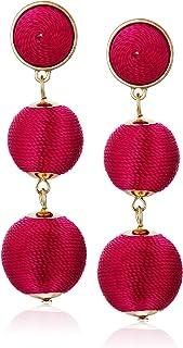 Women's Double Ball Post Drop Earrings, Dark Pink, One Size