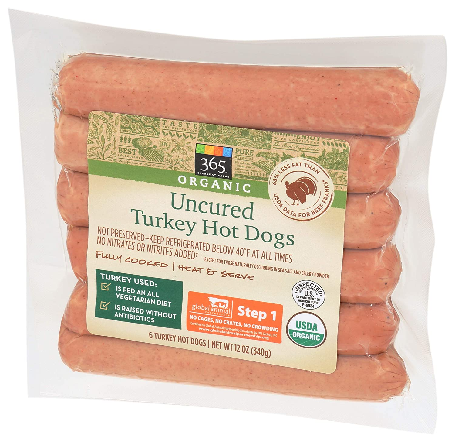 365 by WFM Turkey Hot Dog Step Uncured 1 Direct sale Limited time for free shipping of manufacturer Ounce Organic 12