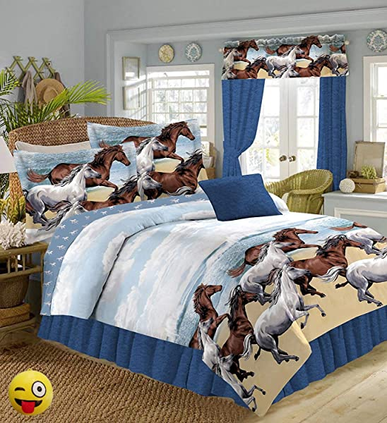 COASTAL BEACH PONY HORSE WESTERN 8 Pieces FULL SIZE COMFORTER Bed In A Bag Set 1 Full Size