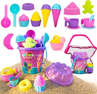 NextX Kids Beach Sand Toys, 24 Pcs Sand Tools with Buckets, Mesh Bag, Ice Cream Mold Set for Toddlers