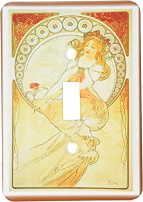 3drose Lsp 98595 1 Muchas Art Nouveau Painting Of A Lady In Orange Dress Single Toggle Switch Multicolor Amazon Com