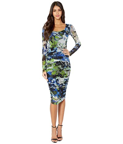 FUZZI Long Sleeve Knee Length Campo Di Fiori Print Dress (Nero) Women