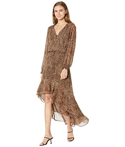 1.STATE Long Sleeve Button Front High-Low Dress