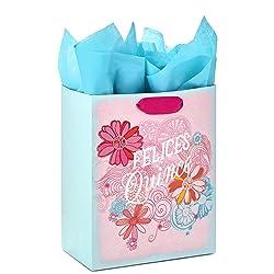 "Hallmark VIDA 9"" Medium Spanish Gift Bag with Tissue for 15th Birthday (Felices Quince)"