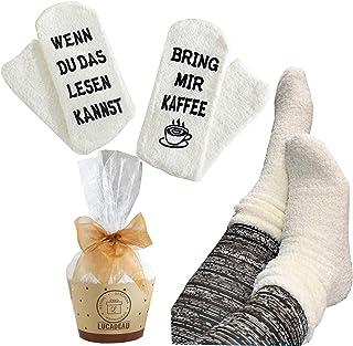 Lucadeau, Regalo para mujeres – si lees el canal, si te pones el vino (café, libro), calcetines, regalo de cumpleaños (crema de café).