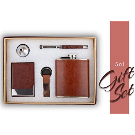 Celebr8 5 in 1 Gift Set with Crystal Pen,Business Card Holder,Keychain & Leather Stainless Steel Hip Flask with Funnel (210 Ml), (Brown) (Premium Quality)