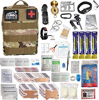 Sirius Premium 250 Piece Molle Survival & First Aid Kit - Outdoor Emergency Gear & Trauma Bag for Camping Hiking Hunting C...