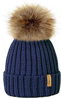 TOSKATOKWomens Winter Rib Knitted Hat/Beanie with Detachable Chunky Faux Fur Bobble Pom Pom - Available in 5 Colours