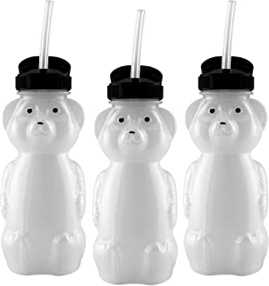 Honey Bear Straw Cups (3-Pack); 8-Ounce Therapy Sippy Bottles w/Flexible Straws