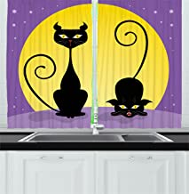 Ambesonne Cat Decor Kitchen Curtains, Two Black Kitties in front of Full Moon Starry Night Halloween Image, Window Drapes 2 Panels Set for Kitchen Cafe, 55W X 39L Inches, Violet Yellow Black