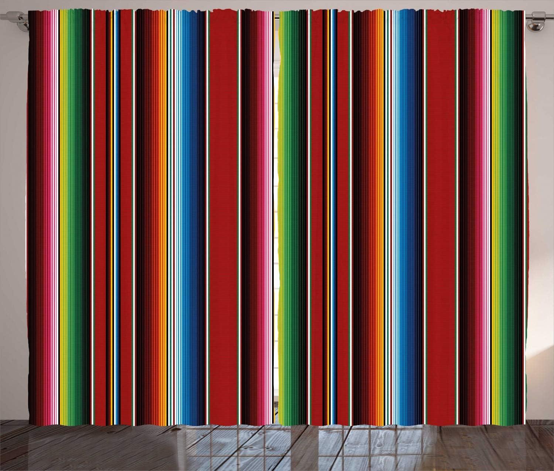 送料無料/新品 Ambesonne 超人気 Cinco de Mayo Curtains Stripe Colorful Serape Mexican
