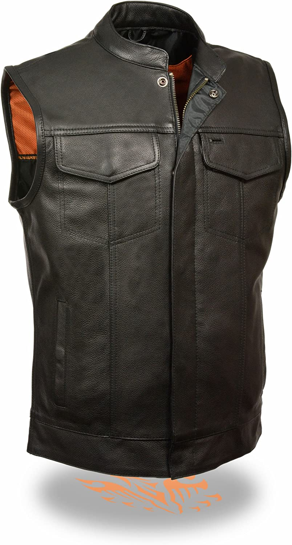 Milwaukee Leather Men's Open Neck Snap/Zip Front Leather Club Style Vest (Black, 5X)