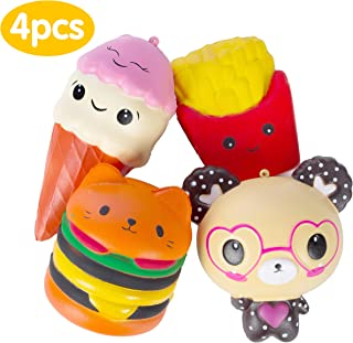 AILIMY 4PCs Jumbo Slow Rising Squishies Kawaii Cute Glasses Bear / Fries / Hamburger / Ice Cream Cake Cream Scented Squishy Kids Toys Doll Stress Relief Toy Hop Props Decorative Props Large