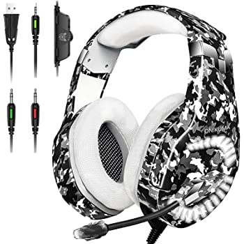 Gaming Headset for PS4, Xbox One Headset with Mic Noise Cancelling, 7.1 Stereo Surround Sound, Led Light, Soft Memory Earmuff, Over Ear Gaming Headphones for PS4 Xbox One PC Latop Mac