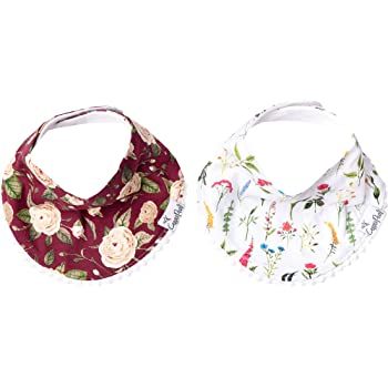 """Baby Bandana Drool Bibs for Drooling and Teething 2-Pack Fashion Bibs Gift Set for Girls """"Scarlet"""" by Copper Pearl"""