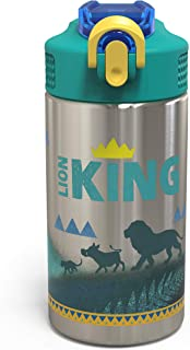 Zak Designs The Lion King - Stainless Steel Water Bottle with One Hand Operation Action Lid and Built-in Carrying Loop, Water Bottle with Straw is Perfect for Kids (Simba & Friends, 15.5 oz, BPA Free)