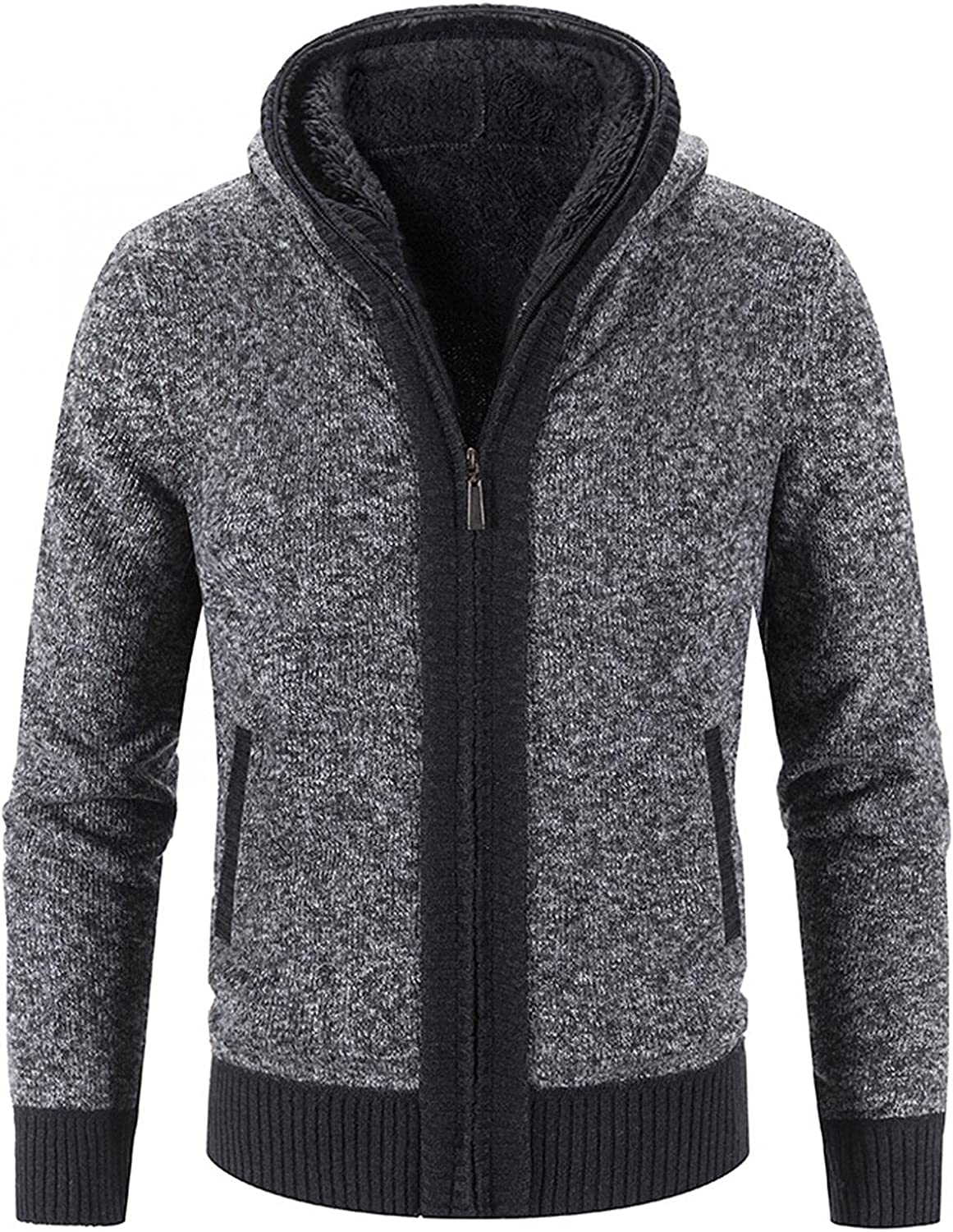 Aayomet Hoodies Cardigan for Men Winter Warm Solid Zip Long Sleeve Casual Hooded Pullover Tops Sweaters Coat with Pockets