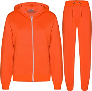 Kids Girls Boys Plain Tracksuit Hooded Hoodie Bottom Jog Suit Joggers 2-13 Year