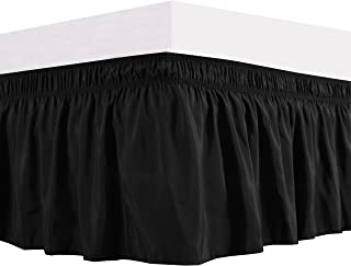Biscaynebay Wrap Around Bed Skirts Elastic Bed Ruffles, Easy Fit Wrinkle and Fade Resistant Solid Color Silkt Luxurious Textured Fabric, Black Queen Size15 Inches Drop