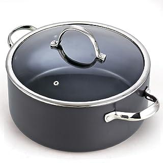 Cooks Standard Lid 7 Quart Hard Anodized Nonstick Dutch Oven Casserole Stockpot, Black