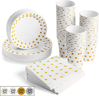200 Pcs GOLD POLKA DOT- Dinnerware Party Paper Supplies Set - Serves 50 | Disposable - 50 Plates, 50 Dessert/Salad/Appetizer Plates, 50 Cups, 50 3-Ply Napkins - By Meeywood