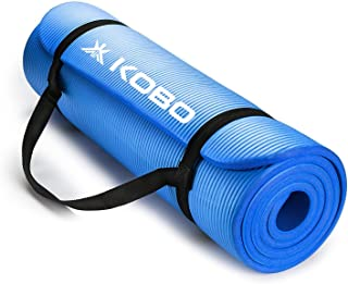 Kobo Unisex NBR Athletica Yoga Multi-use Thick Exercise Mat - Non-slip and Anti-tear with Carrying Strap