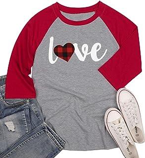 Love Shirt Baseball T Shirt for Women Plaid Love Heart Graphic Tee 3/4 Sleeve Raglan Tops Blouse