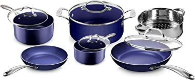 Granitestone Blue Cookware Sets Nonstick Pots and Pans Set– 10pc Kitchen Cookware Sets Cookware Pots and Pans for Cooking Pan
