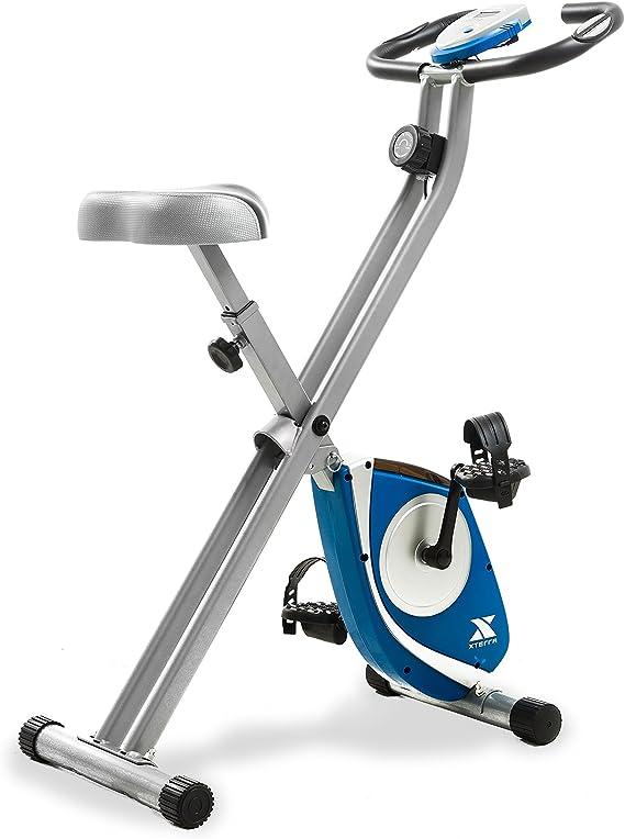 XTERRA Fitness FB150 Folding Exercise Bike, Silver, 31.5L x 18W x 45.3H in.