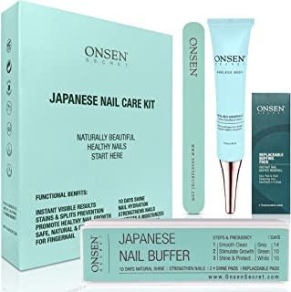 Onsen Japanese Nail Buffer and Shine Kit - Professional Nail File, 3-Way Nail Buffer Block with Free Replacement Pads and ...