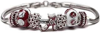 University of Alabama Charm Bracelet   Crimson Tide Gifts   Stainless Steel Alabama Jewelry   Alabama Logo Charm Bracelet