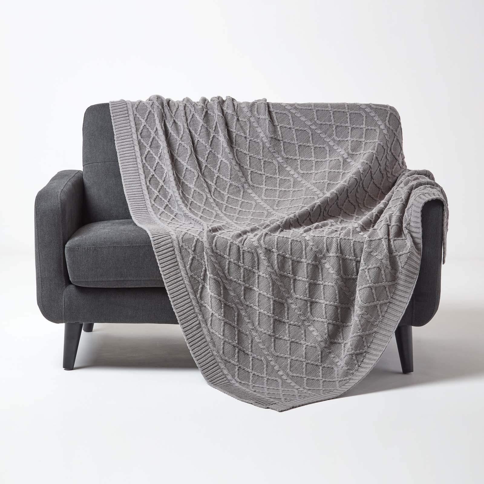 HOMESCAPES - Manta de Punto para Cama o sofá (100% algodón), diseño de Diamantes, 100% algodón, Gris, 130 x 170 cm: Amazon.es: Hogar