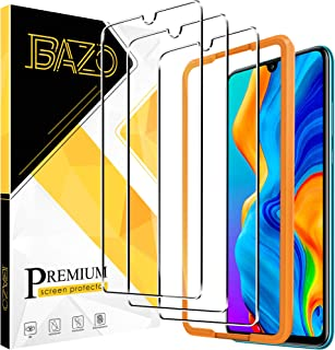BAZO 3 Pack Screen Protector Tempered Glass for Huawei P30 Lite (6.15 inch) with True Touch,[Easy Installation Frame] [Bub...