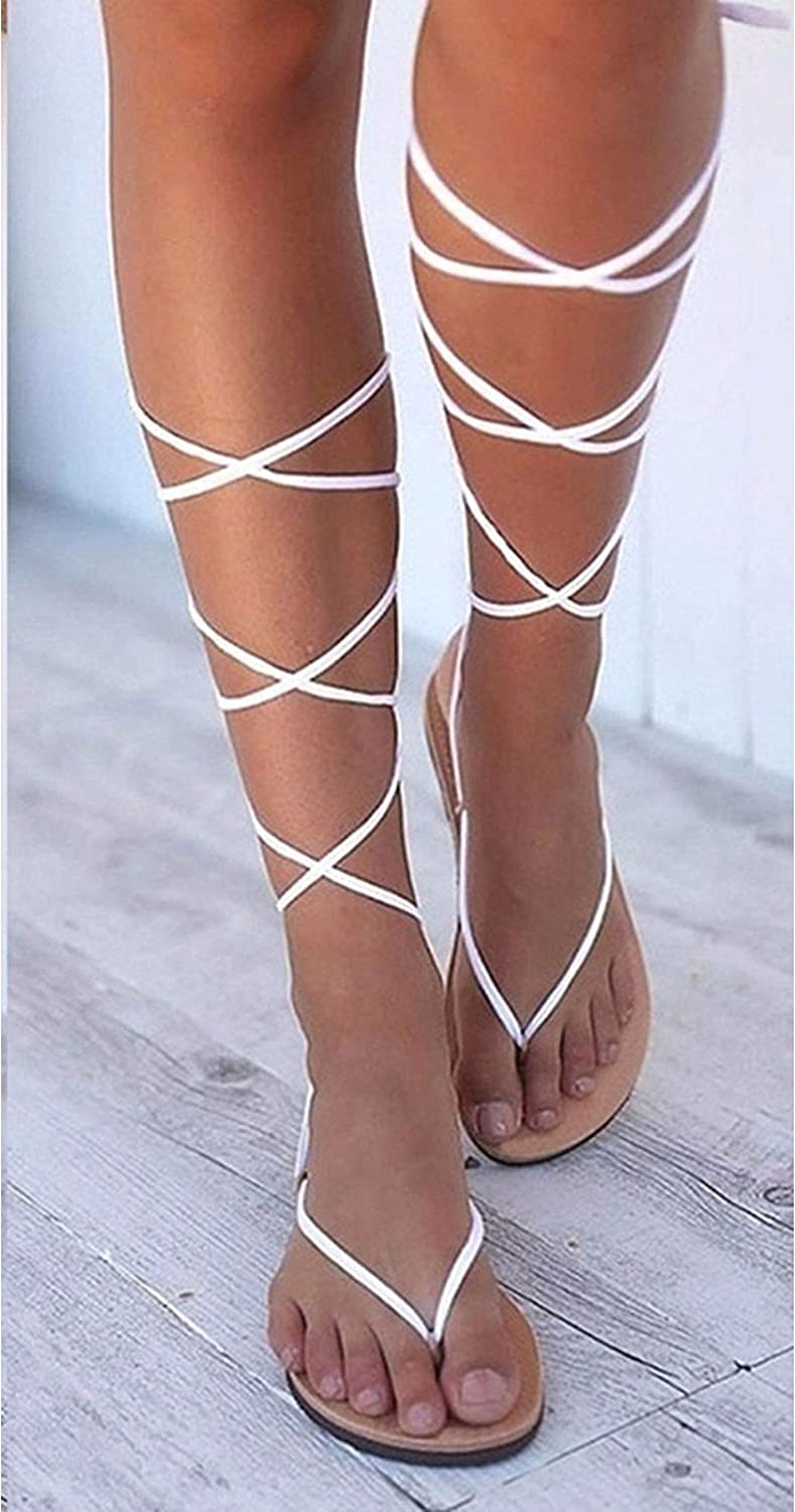 SANDIP MIKEY Summer Knee High Boots Leather Sandals Flat Sandals Sexy Open Toe Cross-Tied Casual Dress shoes Woman Gladiator Sandals