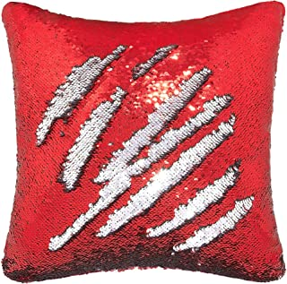 Best Play Tailor Sequin Pillow Case Flip Sequin Pillow Cover Throw Cushion Cover 16x16in, Silver and Red Reviews