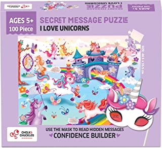 Chalk and Chuckles I Love Unicorns 100 Piece Jigsaw Puzzle, Secret Message Puzzle for Kids Age 5+ Happy Gifts for Girls an...