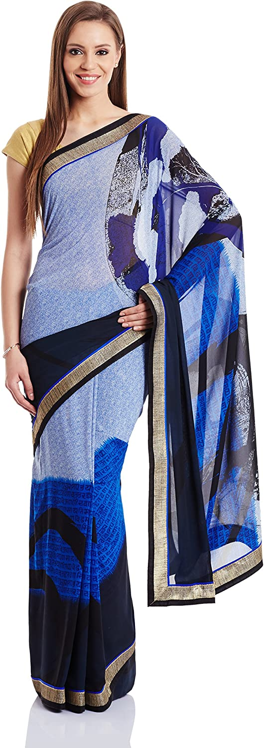 Fashionoma Saree with Blouse Piece (SINDOORI_A_10_bluee_Free Size)