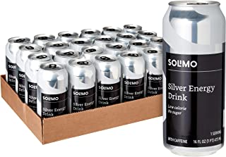Amazon Brand - Solimo Silver Energy Drink, Sugar Free, 16 Fluid Ounce (Pack of 24)