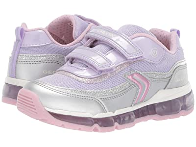 Geox Kids Android Girl 21 (Little Kid) (Silver/Lilac) Girl