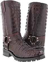 El Presidente - Men's Black Cherry Full Crocodile Tail Leather Biker Motorcycle Boots 11 E US
