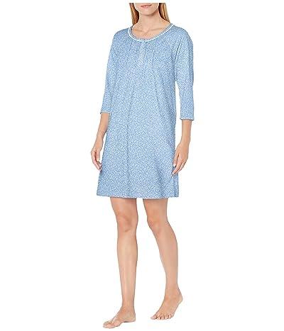 Carole Hochman Soft Jersey 3/4 Sleeve Sleepshirt (Blue Ground Floral) Women
