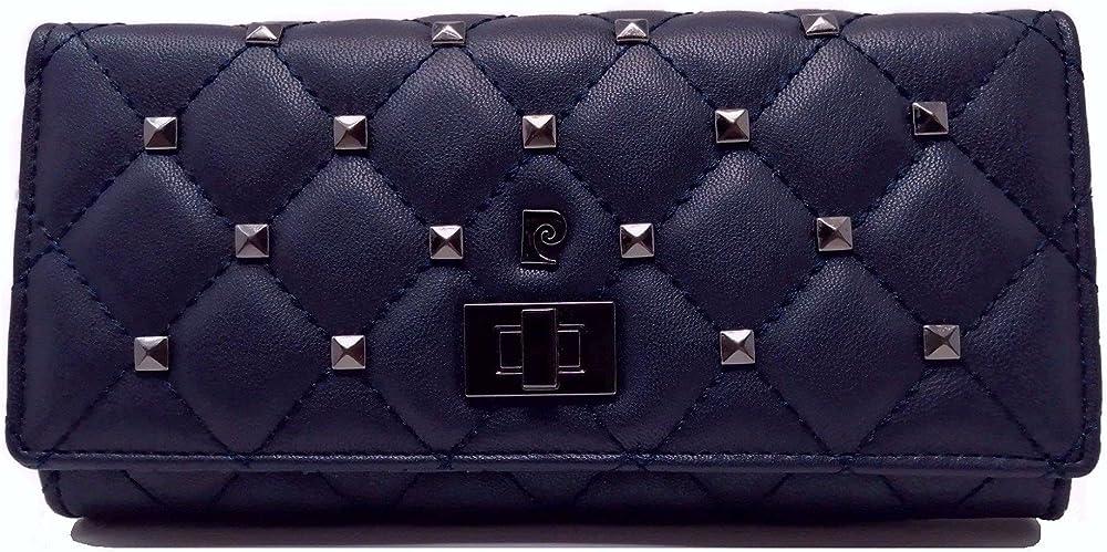Pierre cardin porta carte di credito portafoglio da donna in ecopelle e piccole borchie in metallo blu